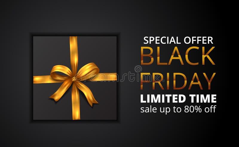 Offerta limitata di vendita nera di venerdì con l'illustrazione del presente con il nastro dorato royalty illustrazione gratis