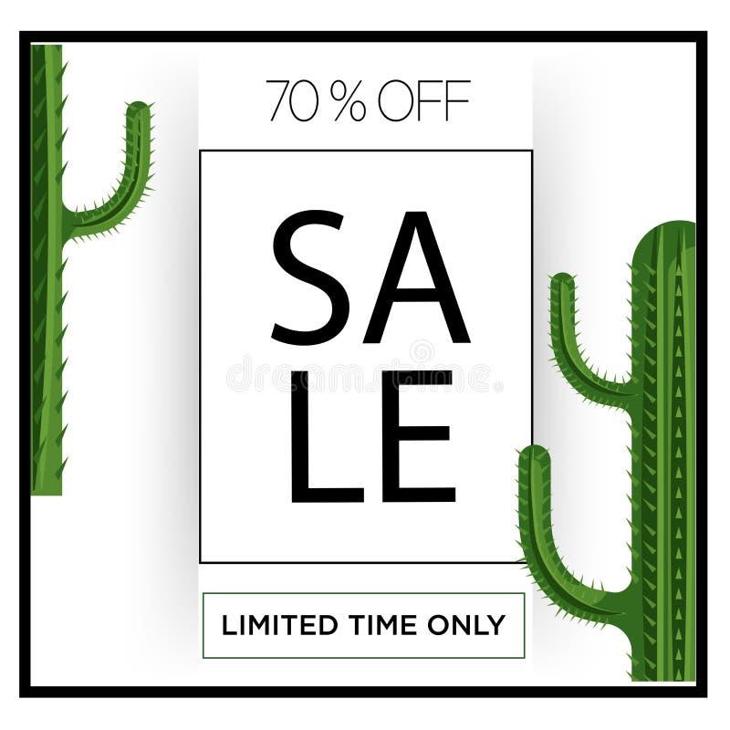Offerta speciale del manifesto di grande vendita di tempo limitato soltanto 70% del cactus di verde del deserto Progettazione del royalty illustrazione gratis
