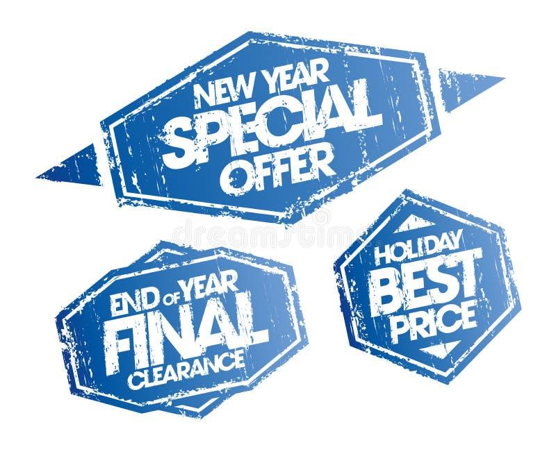 Offerta speciale del nuovo anno, spazio finale di fine d'anno e bolli di prezzi di festa migliori messi royalty illustrazione gratis