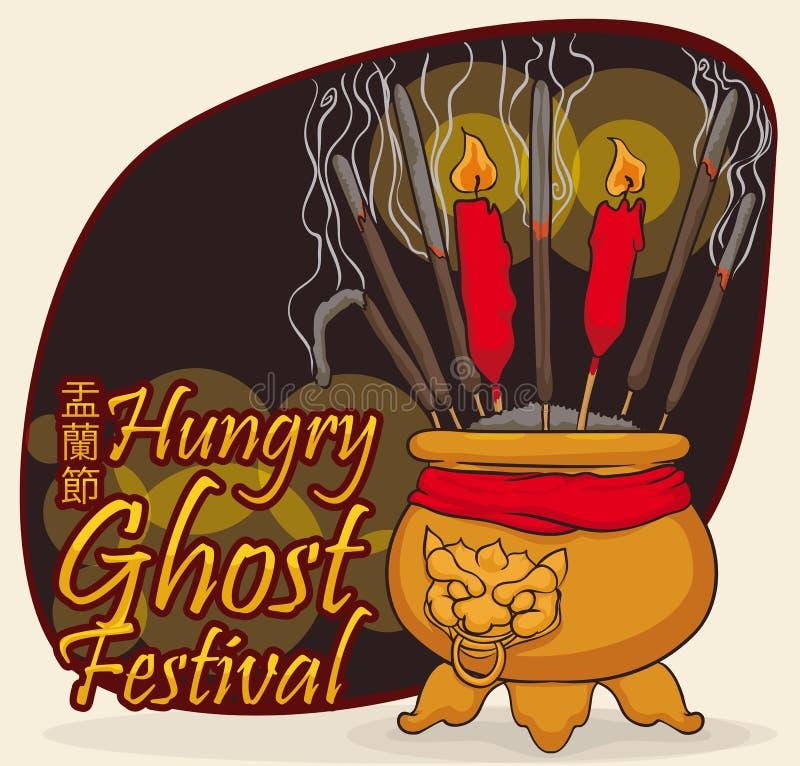 Offerti per pagare rispetto agli alcoolici degli antenati nel giorno del fantasma, illustrazione di vettore illustrazione vettoriale
