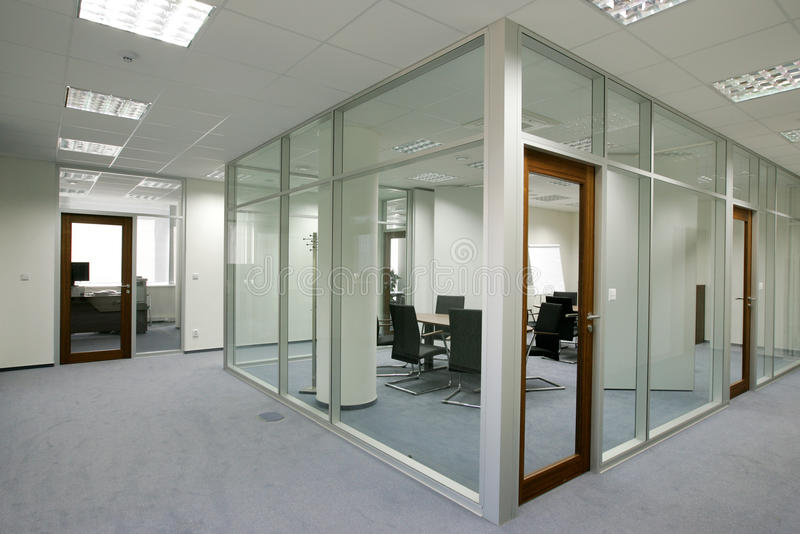 Office. Space with glass walls stock photo
