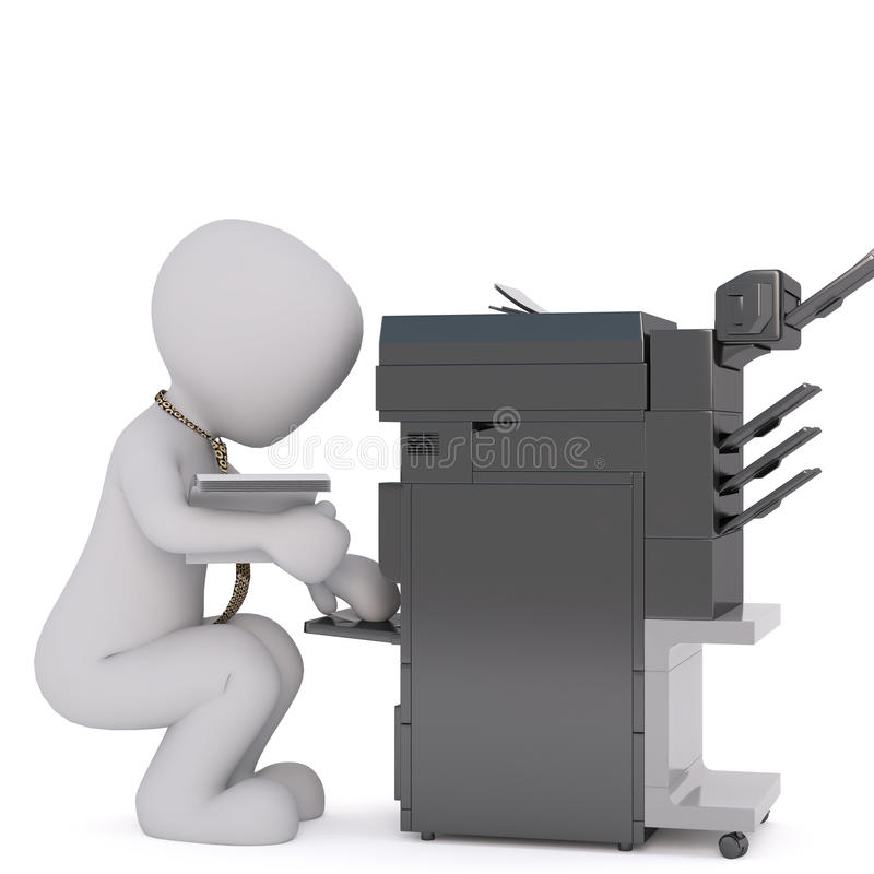 Free Office 3D Man Using Copier Stock Photography - 84545472