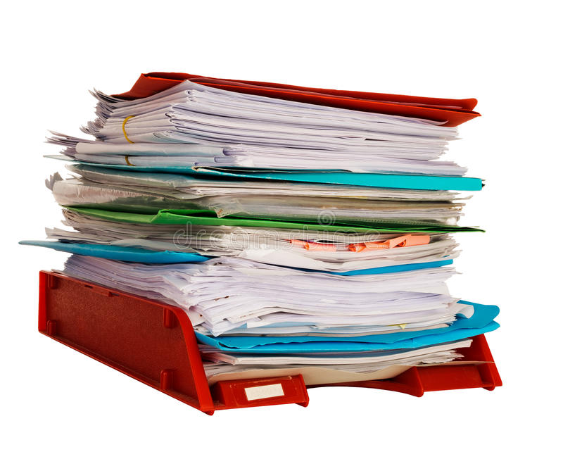 Office administration in-tray aka in tray isolated over white. Overwork or bureaucracy. Stack of paperwork stock photos