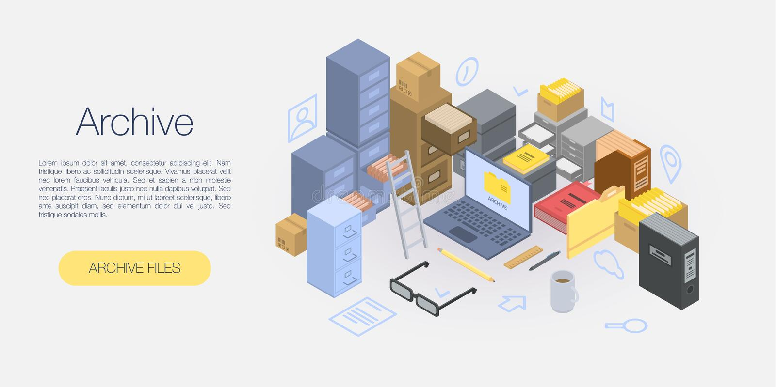 Office archive concept banner, isometric style royalty free illustration