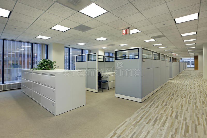 Office area with cubicles stock images