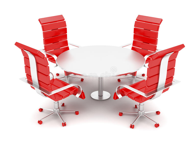 Office armchairs and round table. On white background