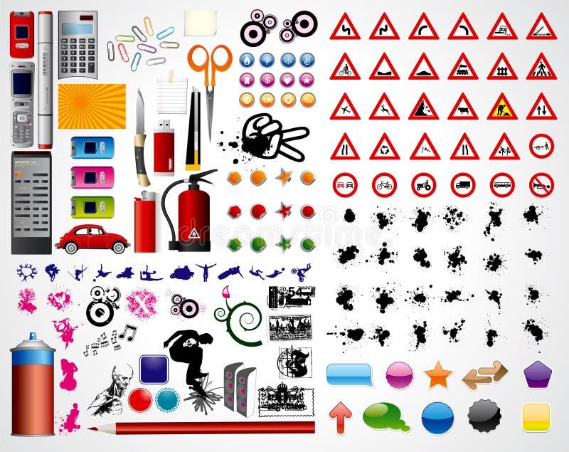 Office art set vector illustration
