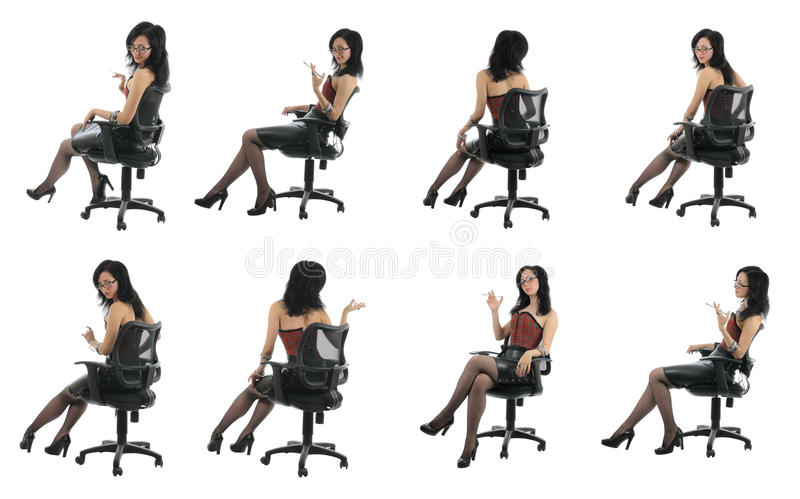 Office beauty is sitting in chair| Isolated stock photography
