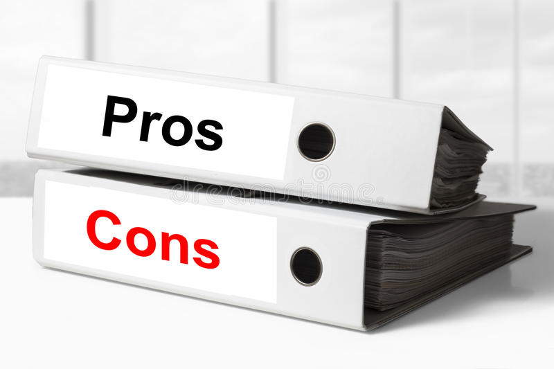 Office binders pros cons stock image
