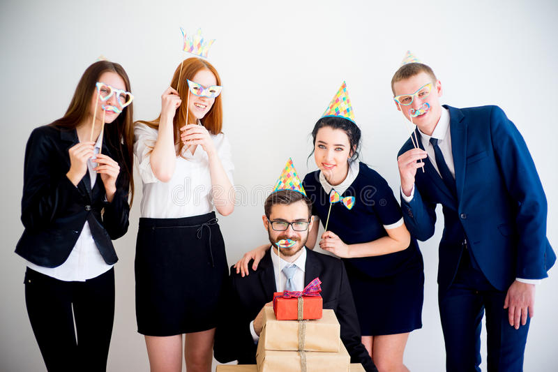 Office birthday party royalty free stock photos