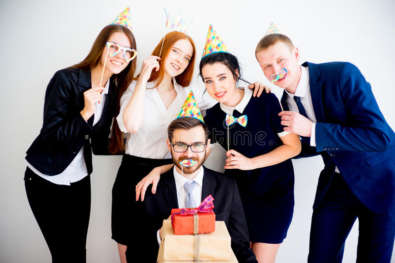 Office birthday party stock image
