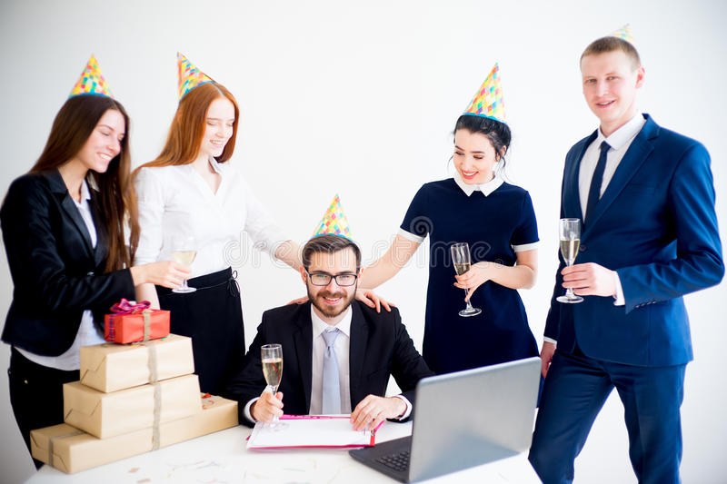 Office birthday party royalty free stock photography