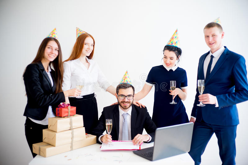 Office birthday party royalty free stock images