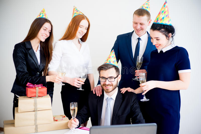 Office birthday party stock photography