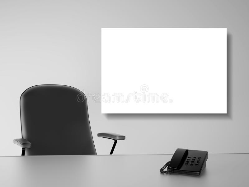 Office with blank poster stock illustration