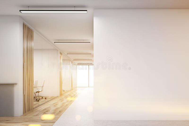 Office with blank wall and row of meeting rooms, toned. Office corridor with large blank wall and row of conference rooms with wooden wall and floor decoration vector illustration