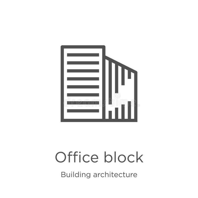 office block icon vector from building architecture collection. Thin line office block outline icon vector illustration. Outline, stock illustration