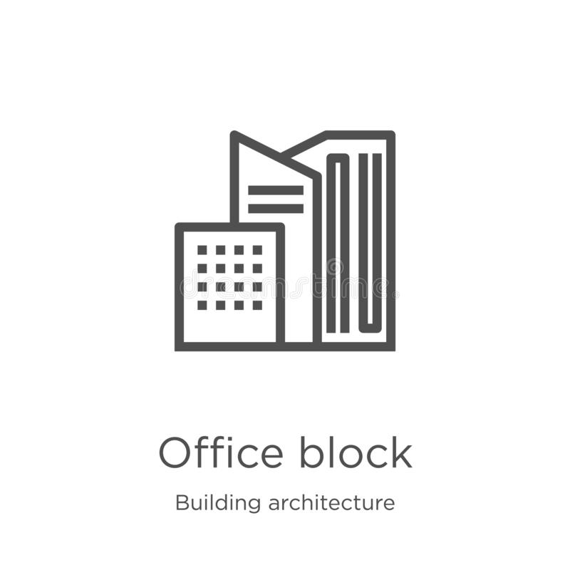 office block icon vector from building architecture collection. Thin line office block outline icon vector illustration. Outline, vector illustration