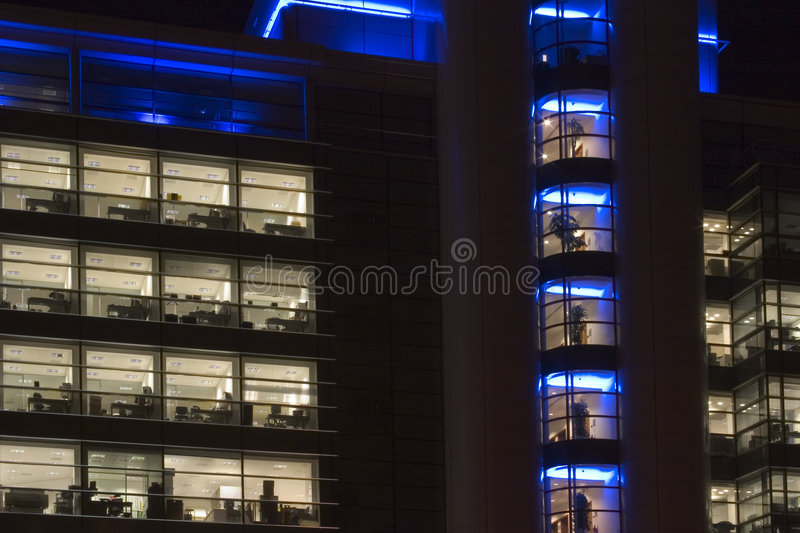 Office blocks at night, Leeds City center, West Yorkshire, Engla stock photography