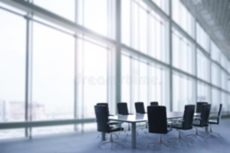 Office blur background. Empty office interior or conference room blur background