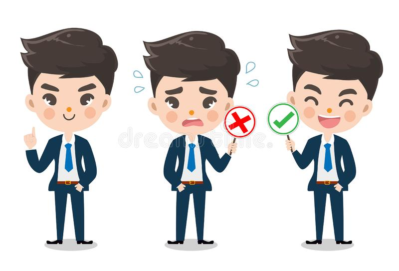 Office boy character hold signage. stock illustration