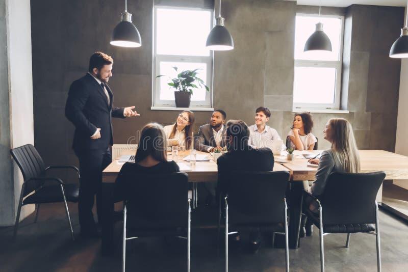 Office brainstorming. Creative business team meeting in boardroom stock images