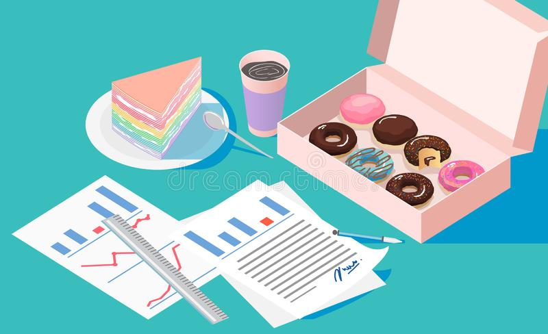 Office break and resting after solving task with Doughnut box crape cake and coffee cup. Office,working with isometric a box of doughnut and a cake with coffee vector illustration