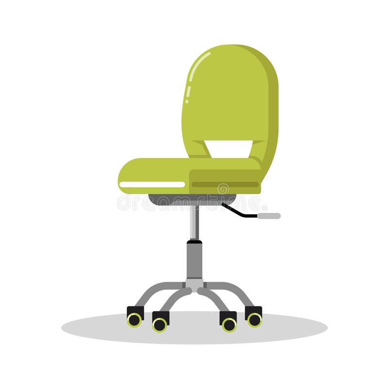 Office bright green chair with casters. Desk height adjustable armchair. Side view. royalty free illustration