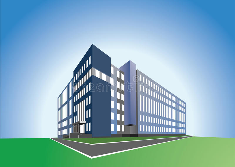 Office building. On blue background, made in vector redactor