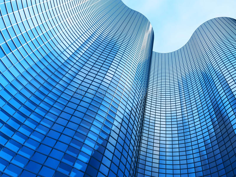 Office building on a background of the blue sky stock images
