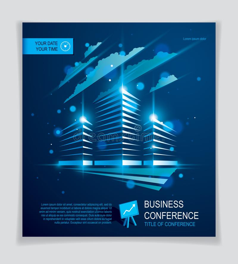 Office building brochure, modern architecture vector flyer with blurred lights and glares effect. Real estate business center blue royalty free illustration