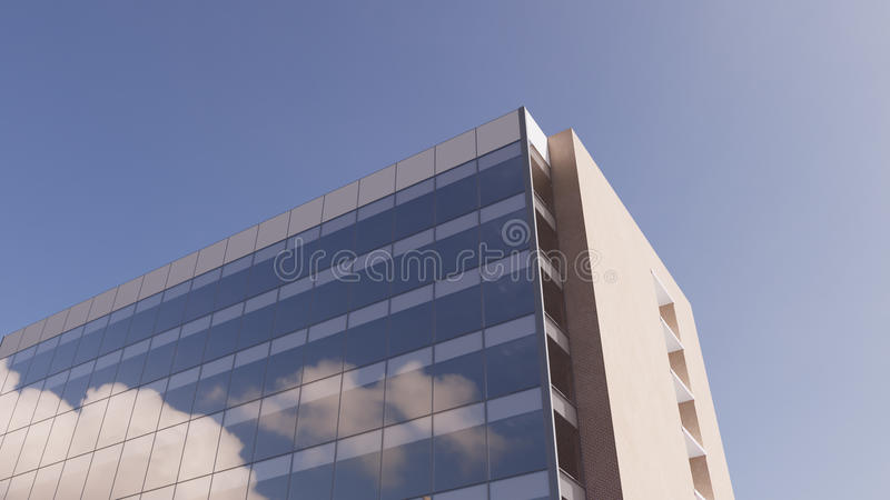 Office building. Clouds reflecting in office building windows royalty free stock photography