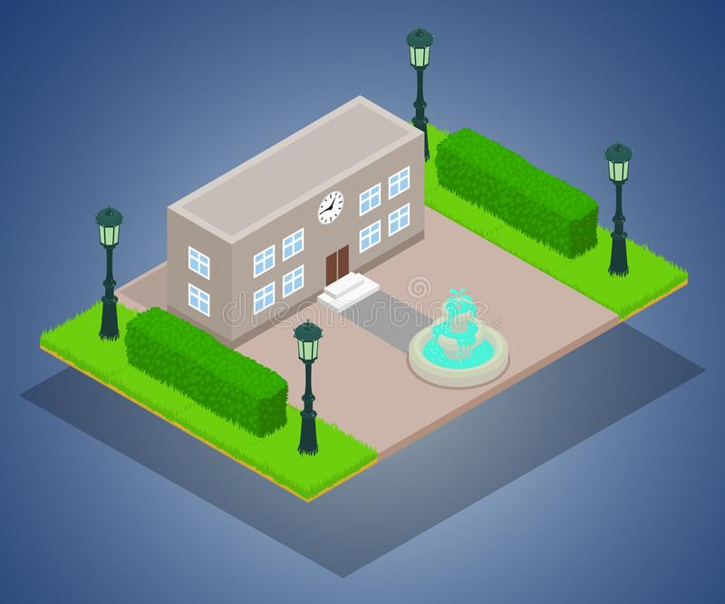 Office building concept banner, isometric style royalty free illustration