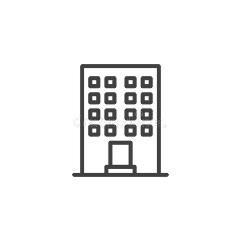 Office building construction line icon stock illustration