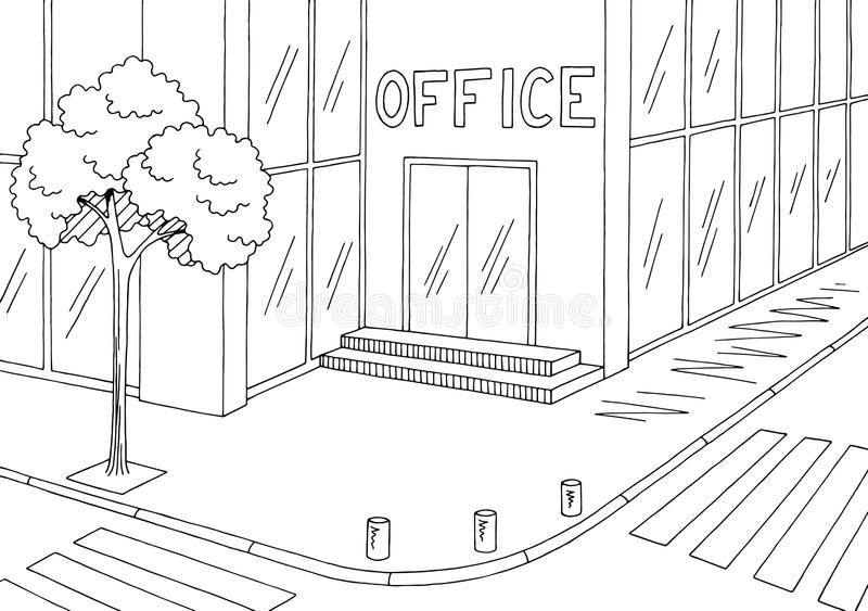 Office building exterior street road graphic black white city sketch illustration vector. Office building exterior street road graphic black white city sketch vector illustration