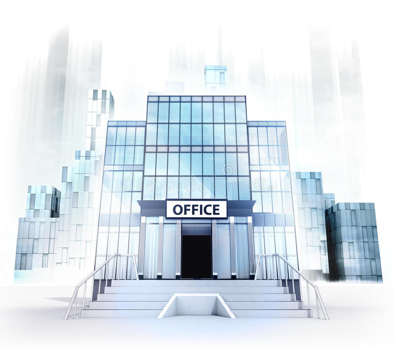 Office building facade in business city concept render vector illustration
