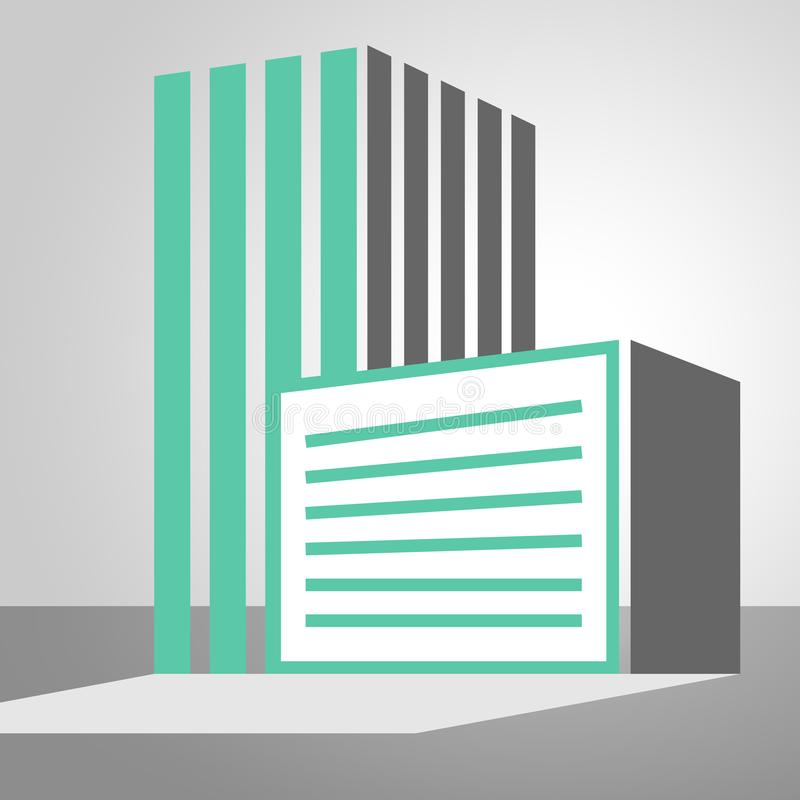 Office Building Icon Showing City 3d illustration royalty free illustration