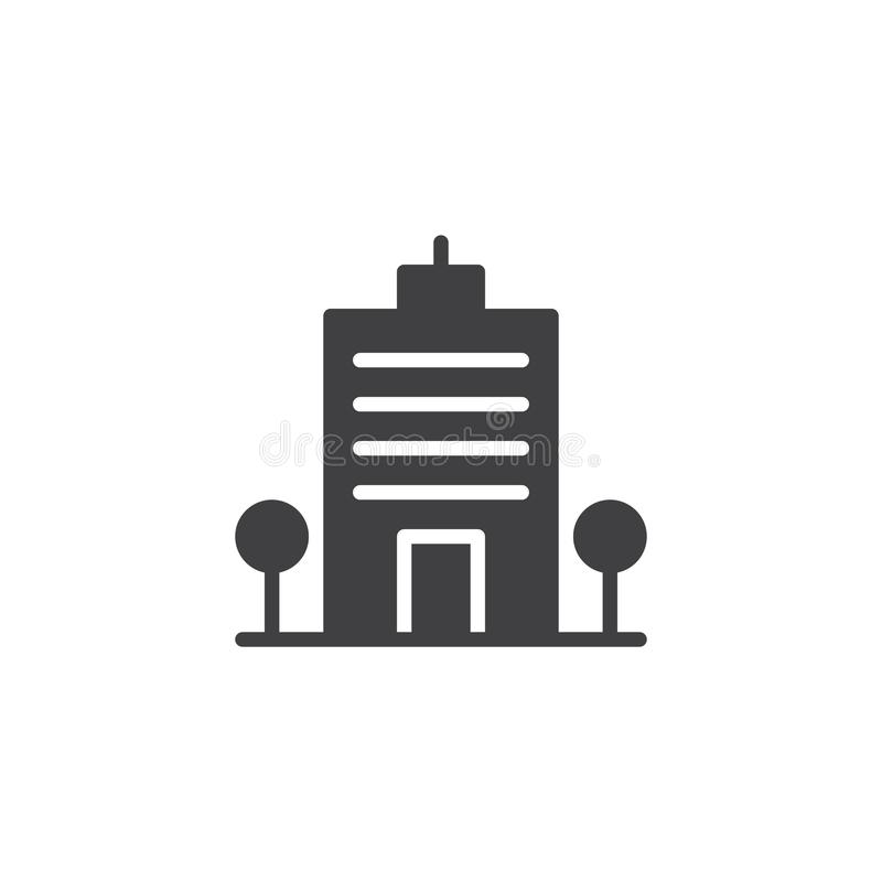 Office building icon vector. Filled flat sign, solid pictogram isolated on white. Business center tower symbol, logo illustration royalty free illustration