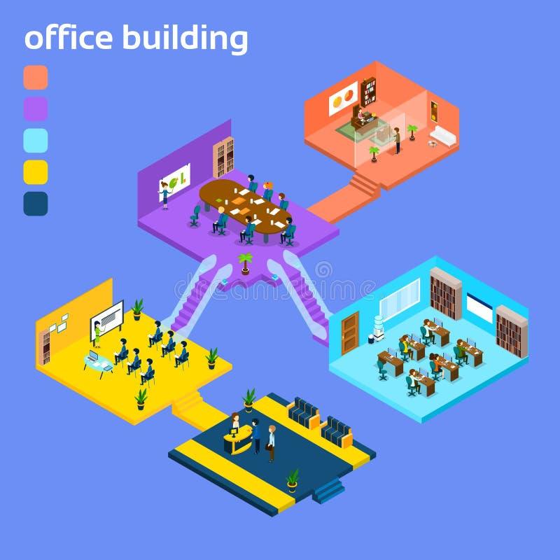 Office Building Interior Isometric 3d. Vector Illustration stock illustration
