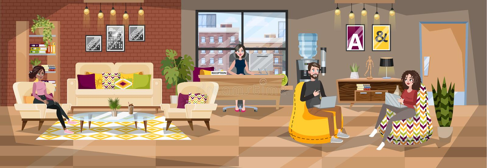 Office building interior. Reception room with administrator royalty free illustration