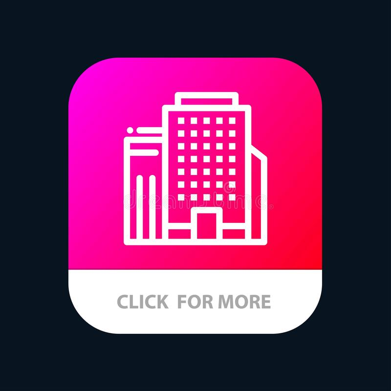 Office, Building, Job Mobile App Button. Android and IOS Line Version stock illustration
