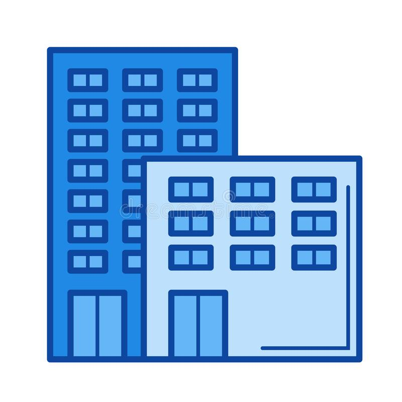 Office building line icon. Office building vector line icon isolated on white background. Office building line icon for infographic, website or app. Blue icon vector illustration