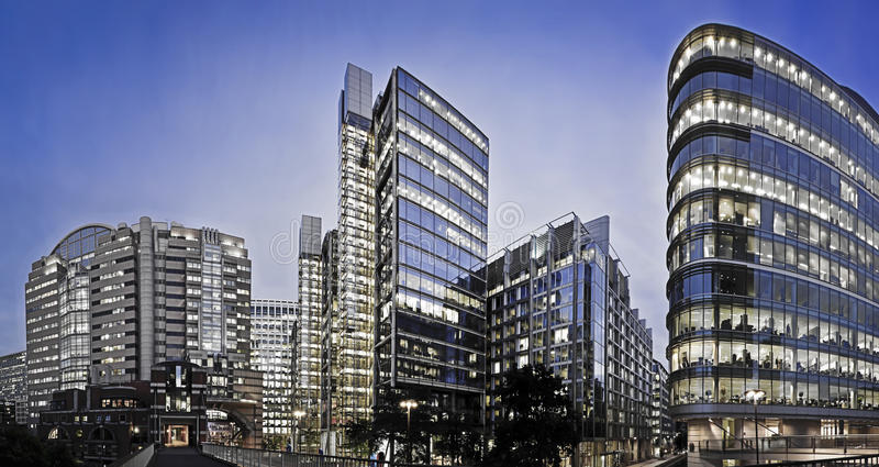 Office building of London. Panaorama image part of London's Financial district royalty free stock photo