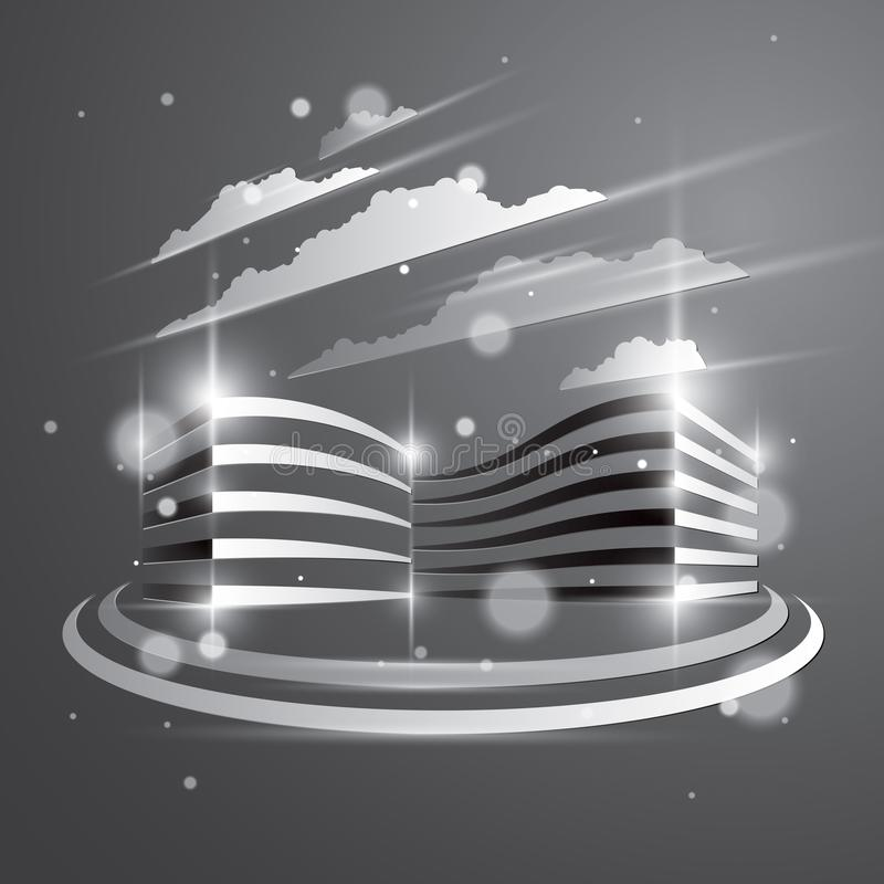Office building, modern architecture vector illustration with blurred lights and glares effect. Real estate realty business center royalty free illustration