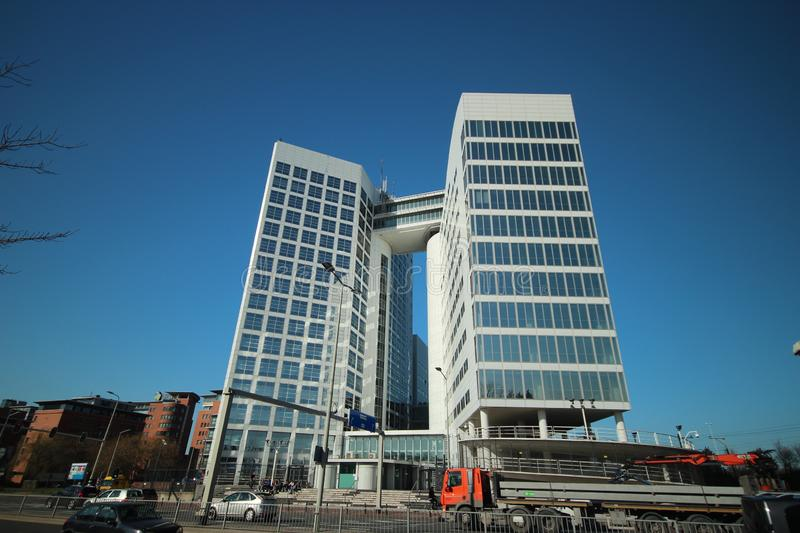 Office building with nickname the coffee machine for the SDU publishers which was former international court building in the Hague stock image