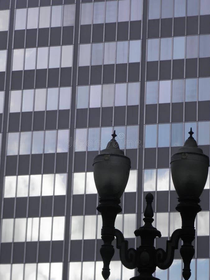 Office Building & Street Lamp in Portland, Oregon stock photos