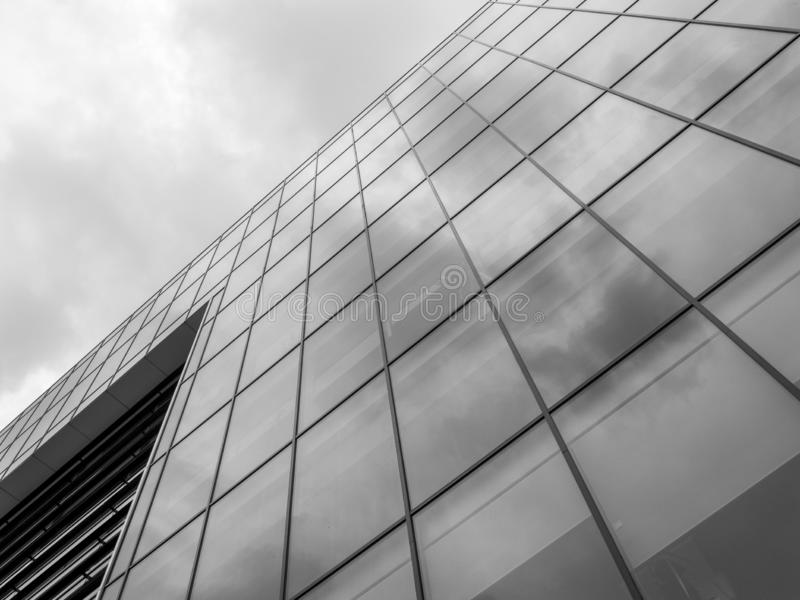 Office building reflections on black and white. Photo stock images