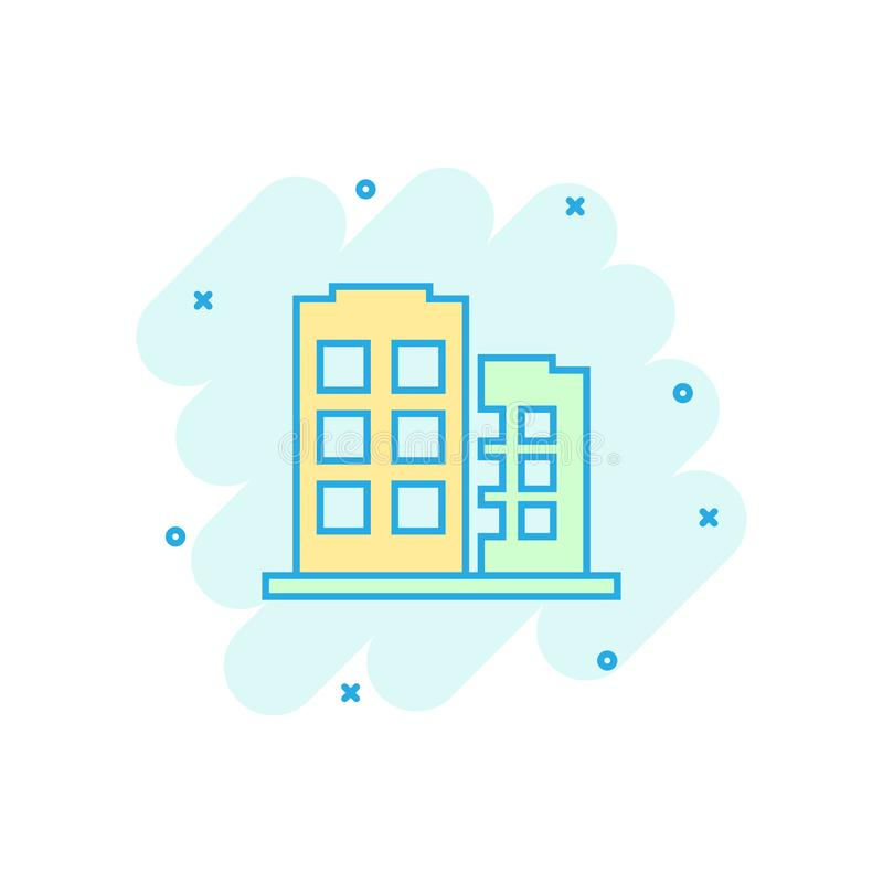 Office building sign icon in comic style. Apartment vector cartoon illustration on white isolated background. Architecture. Business concept splash effect vector illustration