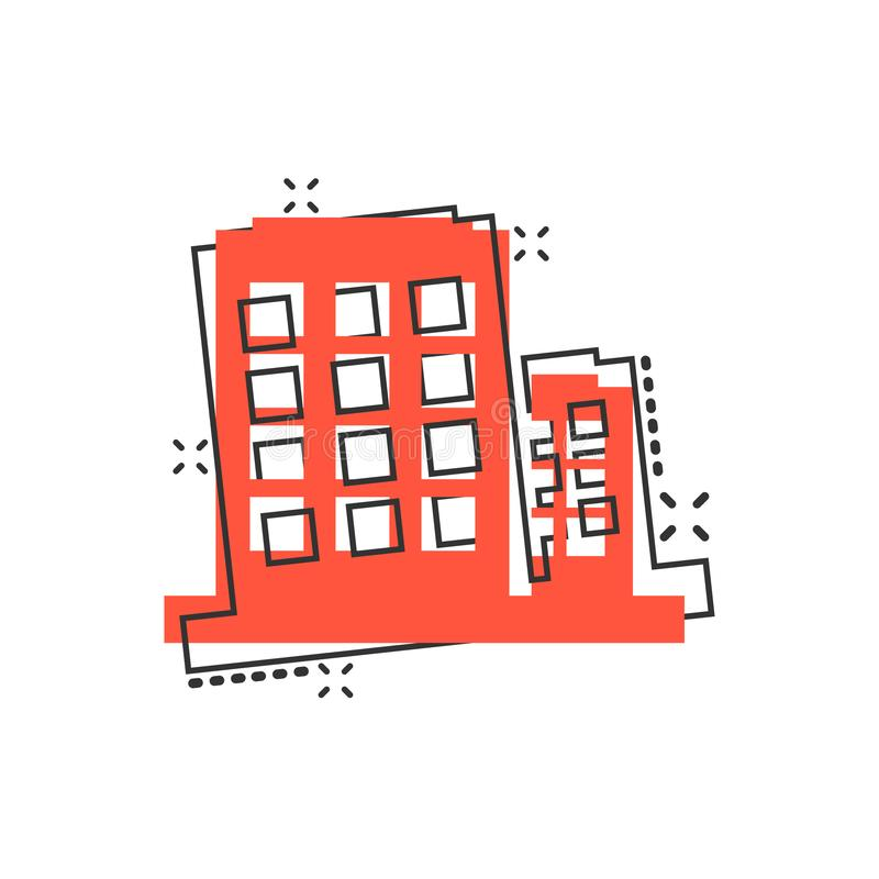 Office building sign icon in comic style. Apartment vector cartoon illustration on white isolated background. Architecture. Business concept splash effect stock illustration