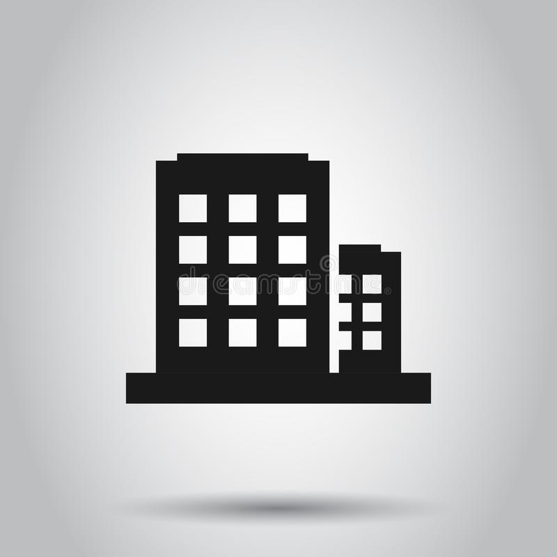 Office building sign icon in flat style. Apartment vector illustration on isolated background. Architecture business concept.  royalty free illustration